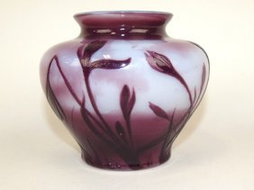 French Cameo Art Glass Vase, Purple Flowers Cut To