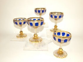 Moser Set Of 5 Goblets With Cobalt Panels And Heavy