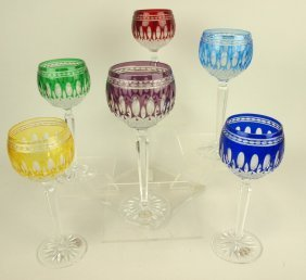 Hungarian Set Of 6 Wine Goblets, Each A Different Color