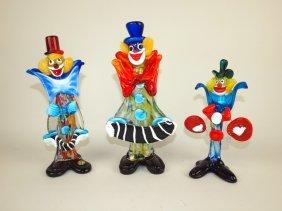 "Murano Lot Of 3 Art Glass Clowns, 9"" To 11 1/2"", Nick"