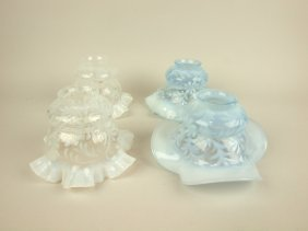 Blue Opalescent Daisy & Fern And 2 Opalescent Daisy And