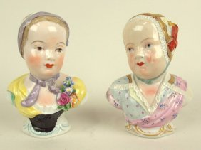 Dresden Lot Of 2 Porcelain Lady Busts, 4 3/4""