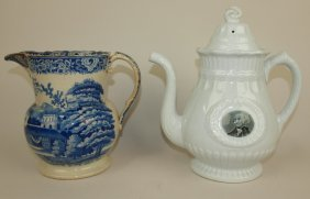 Blue & White Staffordshire Riley Pitcher And White