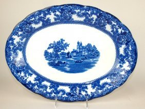 "Flow Blue Colonial Pottery ""togo"" 16"" Platter"