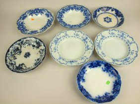 Flow Blue And Staffordshire Lot Of 7 Deep Plates,