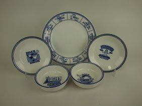 """Fiesta Post 86 White """"blue Plate Special Diner"""" Lot Of"""