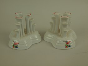 Fiesta Post 86 Sun Porch Pair Pyramid Candle Holders
