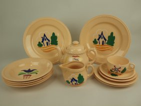 Homer Laughlin Lot Of Hand Painted China, Various