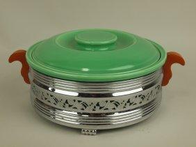 Fiesta Kitchen Kraft Green Casserole With Chrome Holder