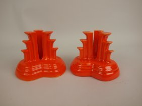 Fiesta Pair Tripod Candle Holders, Red