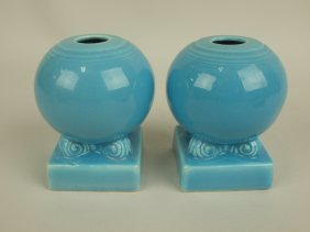 Fiesta Pair Bulb Candle Holders, Turquoise