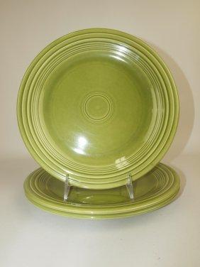 "Fiesta 10"" Plate Group, 3 Turf Green Ironstone"