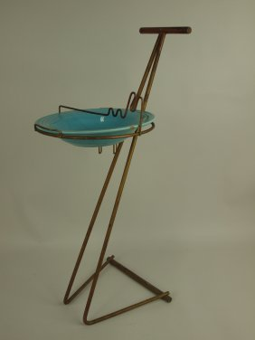 Fiesta Go-along Floor Ashtray With Turquoise Deep Plate