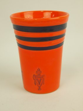 "Fiesta Rare Red Water Tumbler With Blue Stripes And ""v"""