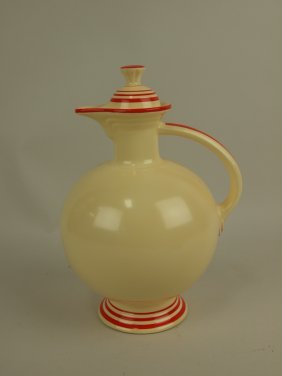 Rare Fiesta Water Carafe, Ivory With Red Stripes,