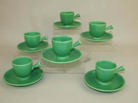 Fiesta Demitasse Cup & Saucer, Set Of 6 Green