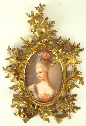 Porcelain lady portrait plaque in gilted frame, plaque