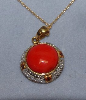 14kt coral pendant and chain