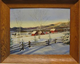 J.W. HUGGINS - WINTER LANDSCAPE WITH FARM, , Sign