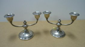 Pair - Candlesticks, Double Arm, Weighted, Stainless