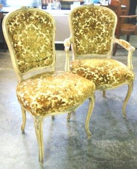 French Style Chairs Louis XV Pair