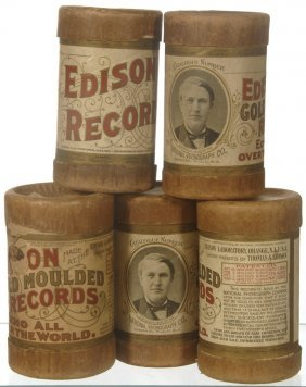(5) ORIGINAL EDISON AMBEROL CYLINDER RECORDS IN CASE