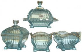 FOUR PIECE BLUE OPALESCENT PATTERN GLASS TABLE SET