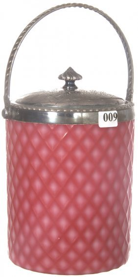 "8"" PINK SATIN DIAMOND QUILTED CUT VELVET BISCUIT JAR"