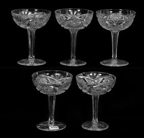 "(5) Champagne Glasses - 5"" - Abcg - Sultana Pattern By"