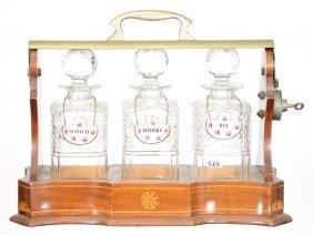 English Three Bottle Tantalus Set