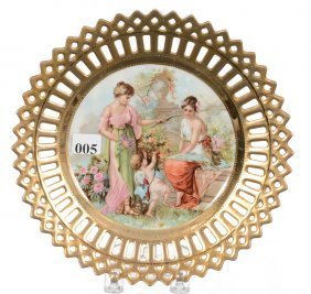 """8 1/2"""" Marked E.s.prussia Handpainted Plate"""