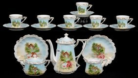 Seventeen Piece R.s.prussia Stippled Mold Child's Tea