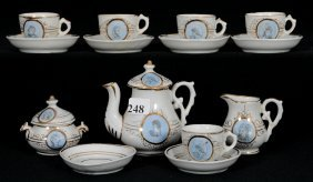 Thirteen Piece Unmarked German Child's Tea Service