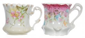 """(2) 3 1/2"""" Unmarked R.s.prussia Shaving Mugs"""