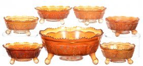 Seven Piece Carnival Glass Marigold Berry Set -