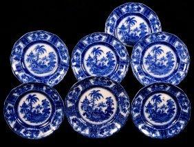 (7) Flow Blue Plates In Kyber Pattern By Adams &