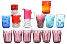 (14) Assorted Pattern Glass Items