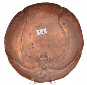 """Unique 7 3/4"""" Solid Copper Bowl With Molded Embossed"""