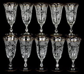 "(8) 7 1/2"" Cambridge Goblets With Etched Floral Motif"