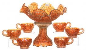 "10"" X 11"" Carnival Glass Two-part Marigold Punch Bowl &"
