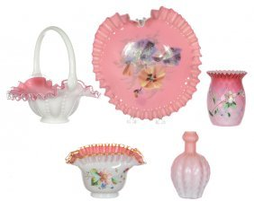 (5) Pink Cased And Satin Art Glass Items