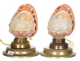 "(2) 7"" Cameo Carved Conch Shell Lamps"