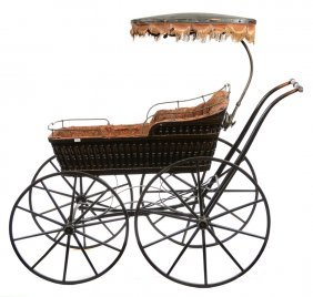 "47"" X 52"" Ebony Spindle Child's Buggy With Cast Iron"