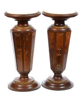 """Pair 30"""" X 14"""" Eastlake Burl Walnut Pedestals With"""