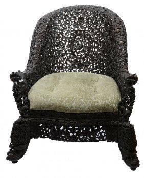 """34"""" X 32"""" Vintage Oriental Teakwood Chair"""