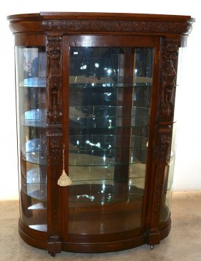 "Elaborate 69"" X 54"" Carved Oak Bow Front China Cabinet"