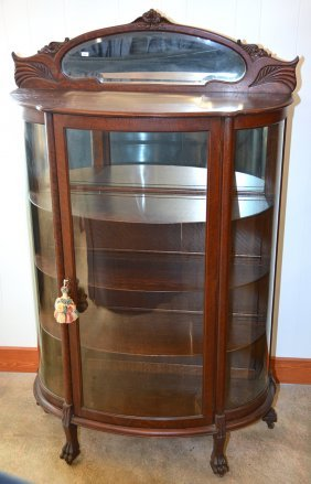 """71"""" X 42 1/2"""" Oak Bow Front China Cabinet"""