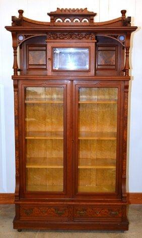 "90"" X 48"" Victorian Burl Walnut Library Cabinet"