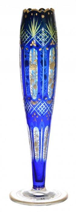 "15"" Art Glass Trumpet Vase - Blue Cut To Vaseline"