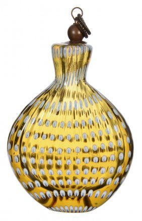 "4"" X 3"" Solid Amber Art Glass Flask Shaped Perfume"